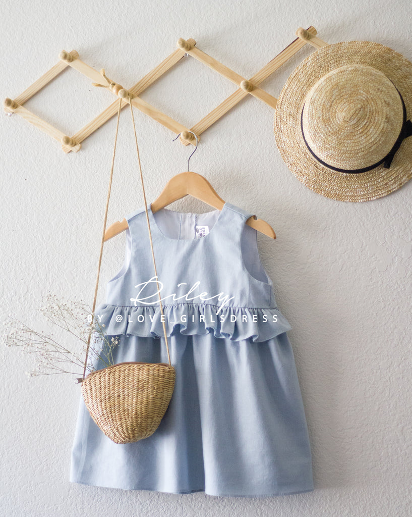 aadc58d45d ... Summer Sky Blue Linen Dress  Riley