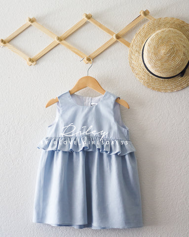 Summer Sky Blue Linen Dress 'Riley'