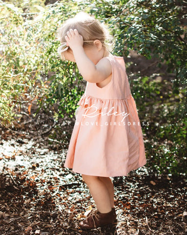 Summer Peach Linen Dress 'Riley'