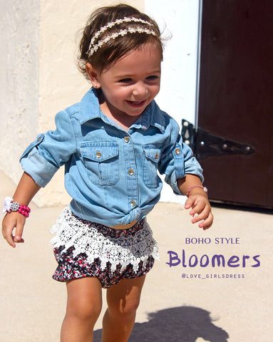 New Boho Bloomers with lace trim