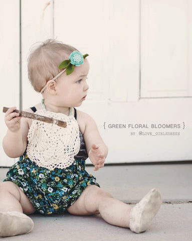 Green Floral Baby Bloomers Pants