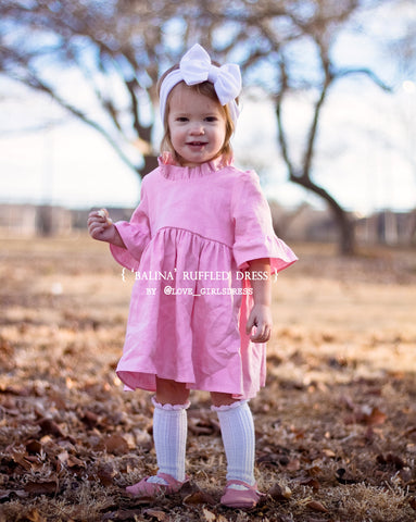 Balina Baby Ruffled Pink Linen Dress