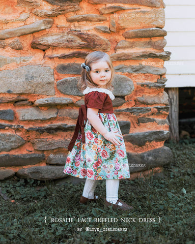 "Baby Lace Ruffled Neck & Floral Dress ""Rosalie"""