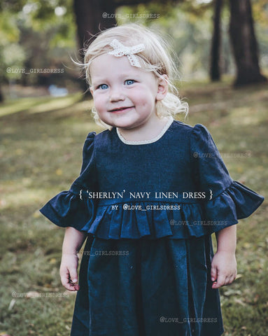 Ruffled Navy Linen Dress 'Sherlyn'