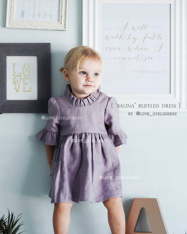 Baby Ruffled Violet Linen Dress 'Balina'