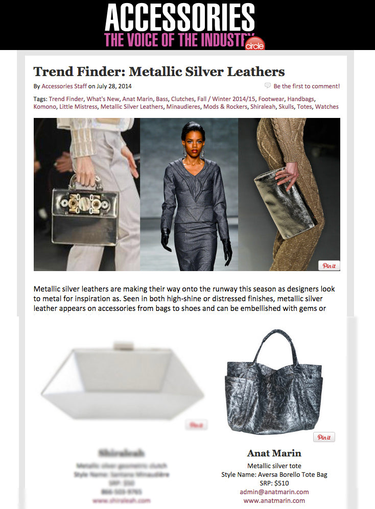 Accessory Magazine - Trend Finder Metallic Silver Leathers - Aversa Gunmetal Oversized Tote Bag by Anat Marin