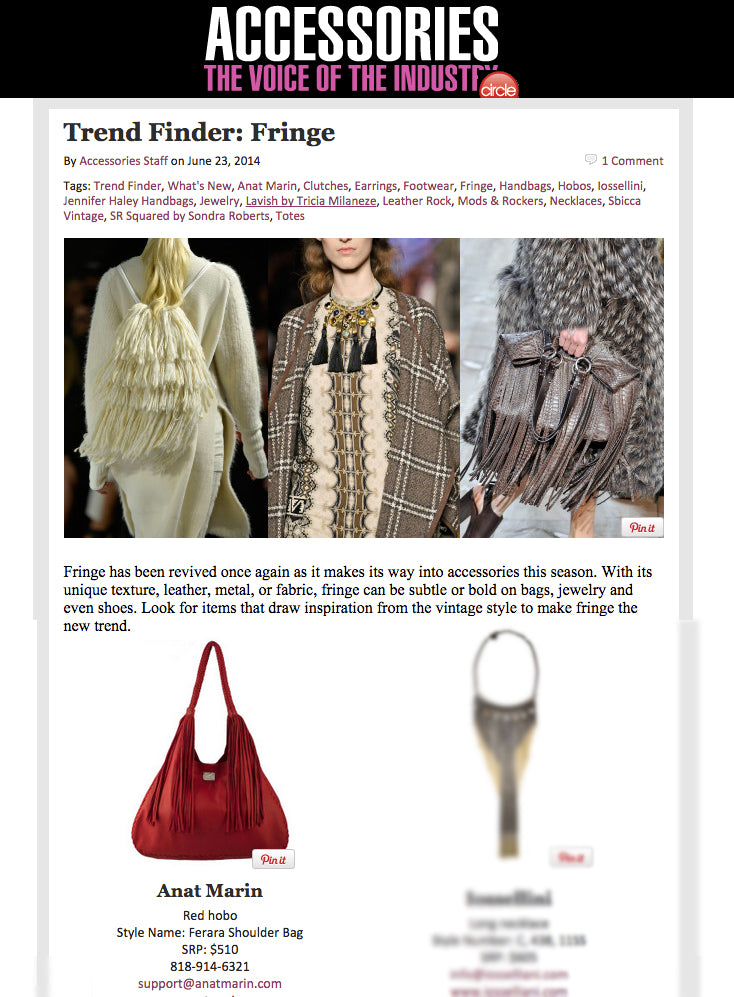 Accessory Magazine Trend finder: Fringe - Ferrara Red LEather Fringe Handbag by Anat Marin
