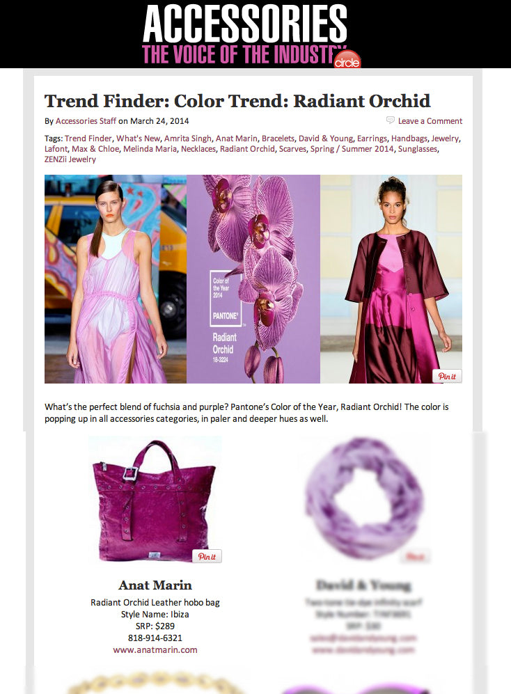 Accessory Magazine Trend Finder: color trends : Radiant Orchid - Anat Marin Handbag