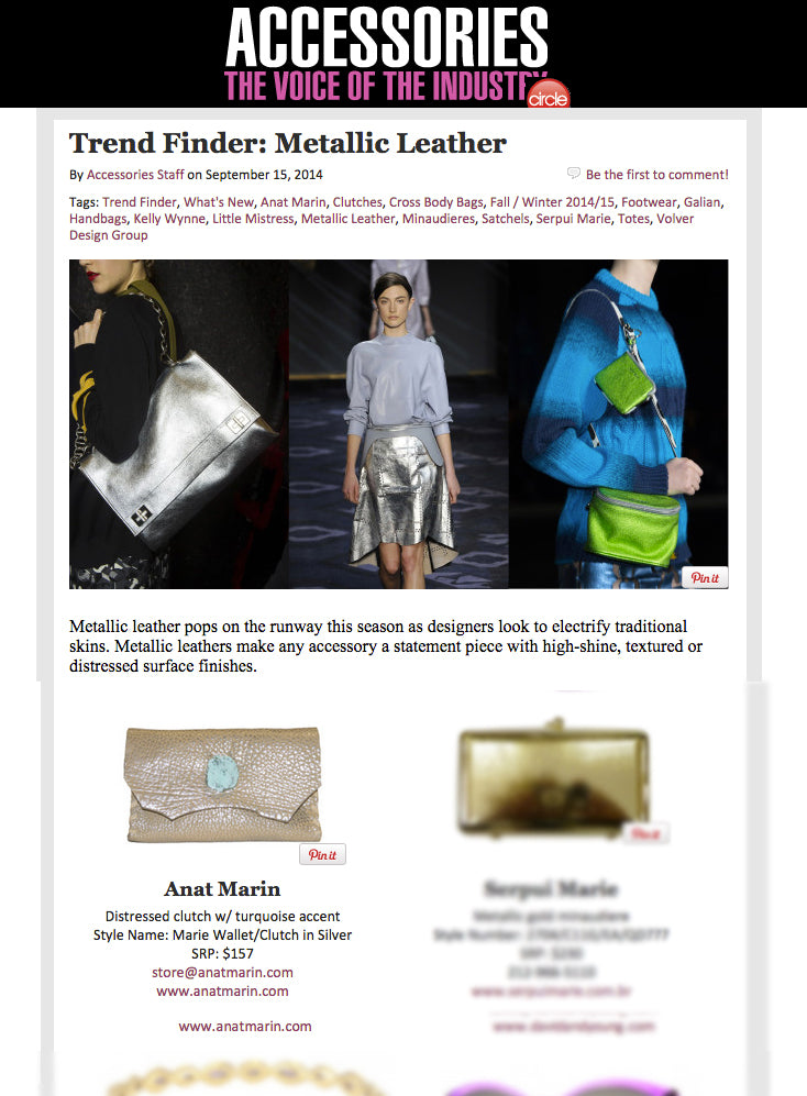 Accessories Magazine featuring Anat Marin Marie Clutch in Distressed silver w/turquoise accent stone