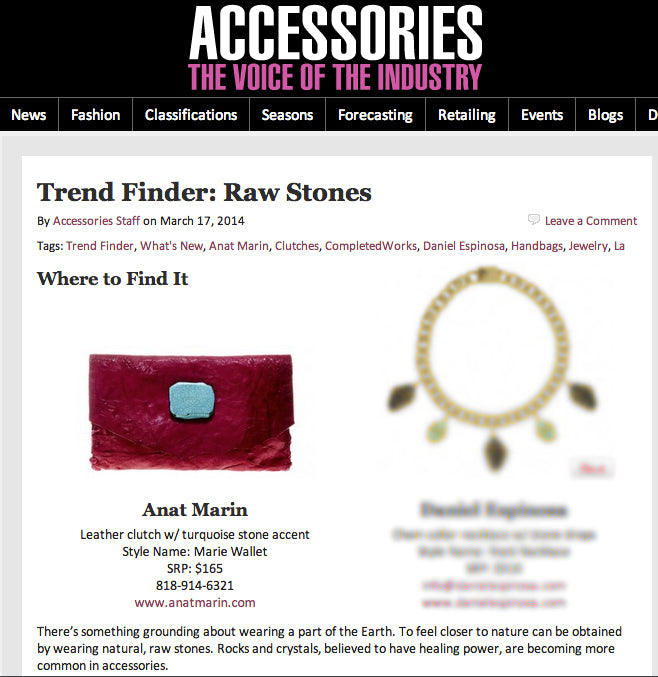 Accessory Magazine - Trend Finder: Raw Stones Anat Marin Marie Wallet Clutch