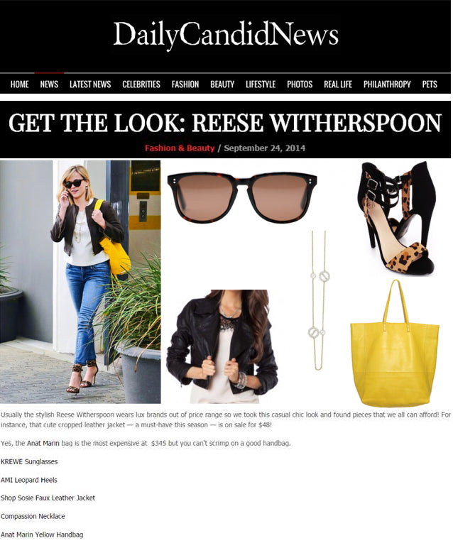 Daily Candid News = Get The Look: Reese Witherspoon Yellow Tote Bag