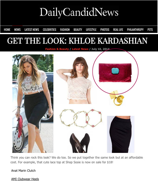 Celebster - Daily Candid News Get The Look: Khloe KArdashian red leather clutch - Anat Marin Marie clutch/Wallet
