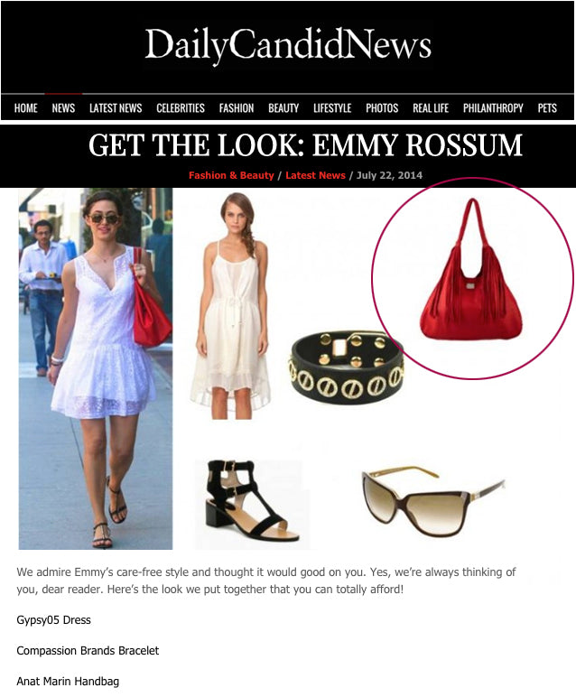 Daily Candid News - Get The Look: Emmy Rossum Red Leather Purse Handbag - Ferrara LEather fringe handbag by Anat Marin