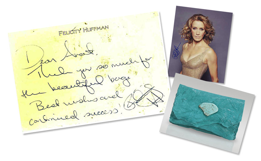 Felicity Huffman Turquoise leather wallet/Clutch by Anat Marin