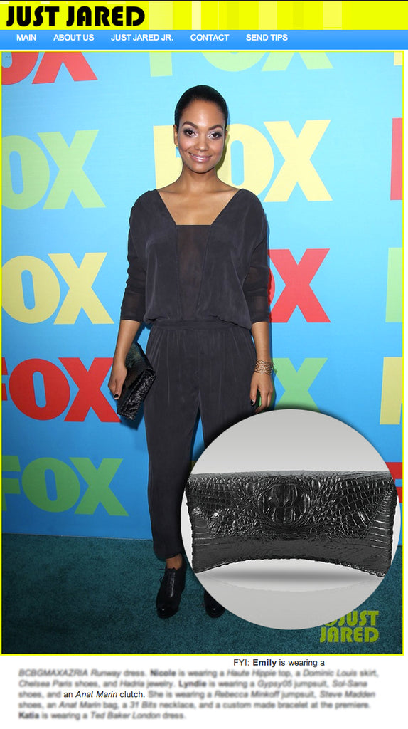 Just Jared - Lyndie Greenwork Black croc clutch by Anat Marin