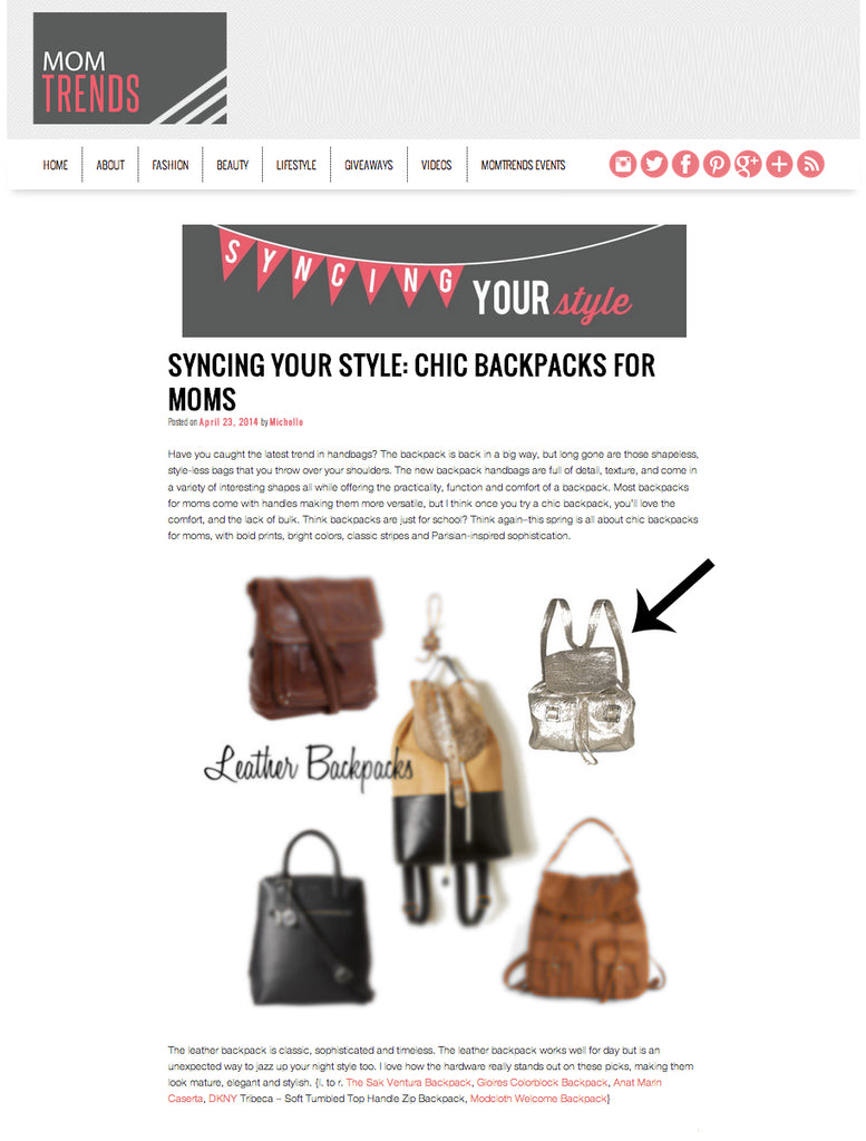 MOM Trends Fashion Blog - Chic Backpacks for Mom - Anat Marin Silver LEather Caserta Backpack