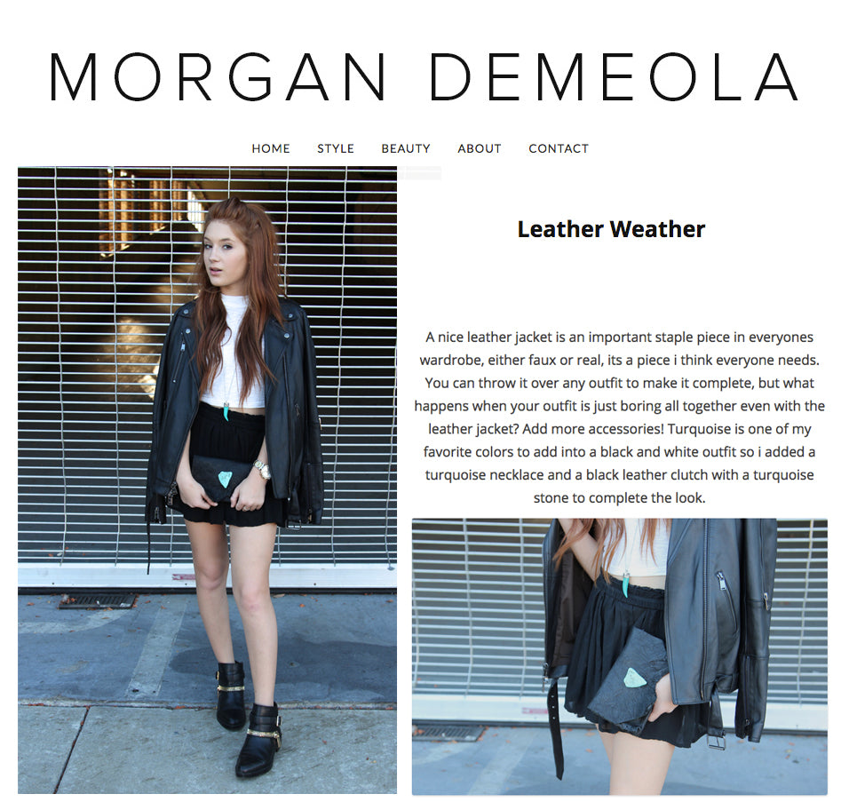 Fashion Blogger Morgan Demeola talks Leather Weather - Anat Marin Marie Clutch