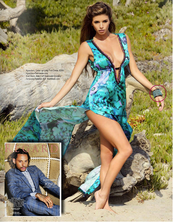 Regard Magazine - Turquoise Studded LEather Cuff Bracelet by Anat Marin