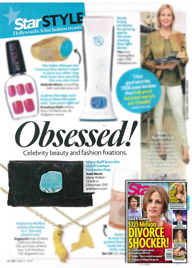 Star Magazine obsessed celebrity beauty and fashion fixations - Hilary Duff love this clutch's unique turquoise clasp - Anat Marin Marie Wallet/Clutch in Chocolate