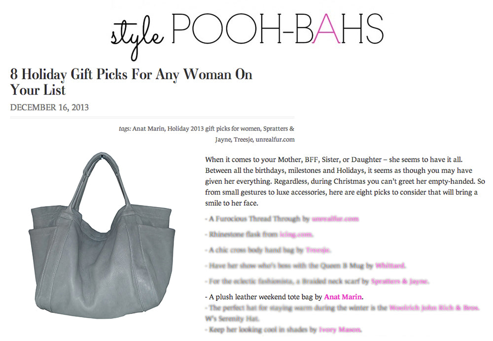 Style Pooh-Bahs - Holiday Gift Picks - Anat Marin Aversa Oversized Tote