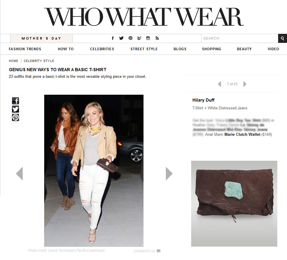 Who What Wear - Hilary Duff Chocolate Brown Leather Cluch - Anat Marin Marie Clutch/Wallet