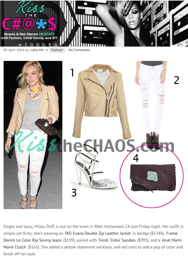 "Kiss the Chaos - Hilary Duff wearing Anat Marin Brown Leather ""Marie Clutch/Wallet"""