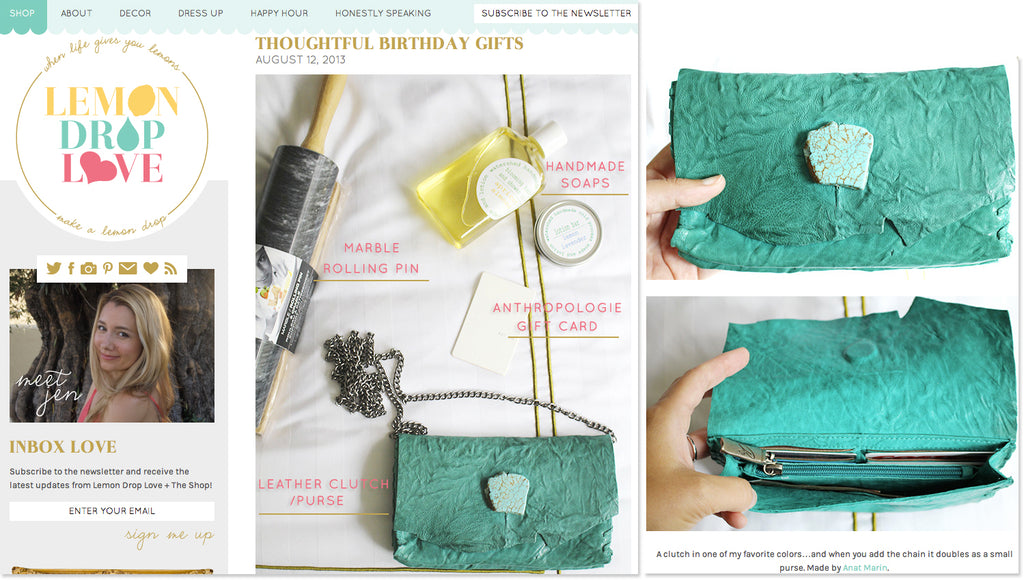 Lemon Drop Love - THoughtful Birthday Gifts - Anat Marin Marie Turquoise Wallet/Clutch