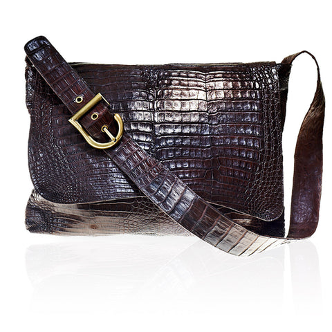 Lyon Crossbody Crocodile Bag in Chocolate