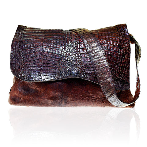 Lyon Crossbody Borello/Crocodile in Chocolate