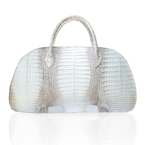 Vitoria Large Crocodile Handbag in Natural