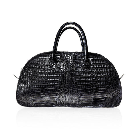 Vitoria Medium Crocodile Handbag in Black