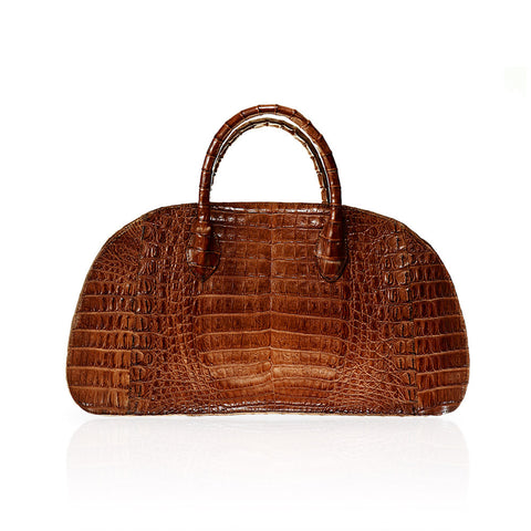 Vitoria Medium Crocodile Handbag in Cognac