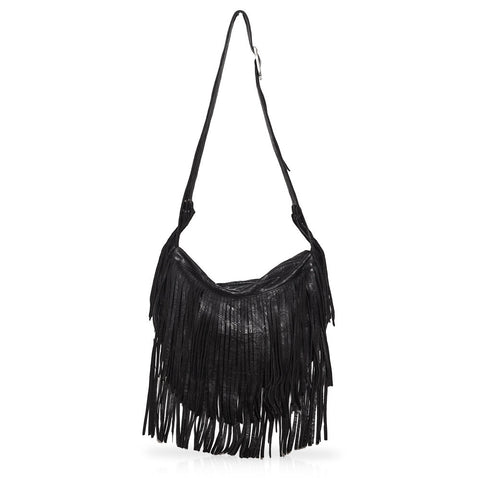 Sassari Borello Fringe Bag in Black
