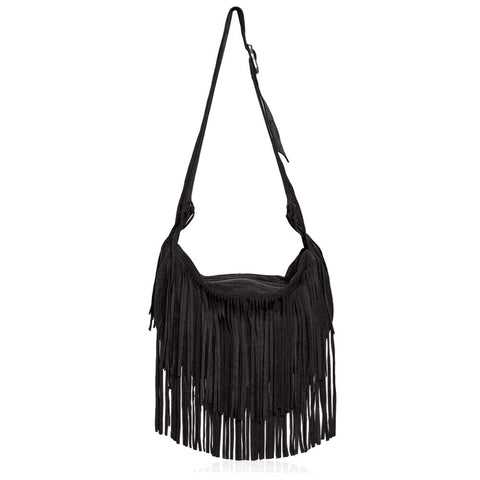 Sassari Suede Fringe Bag in Black