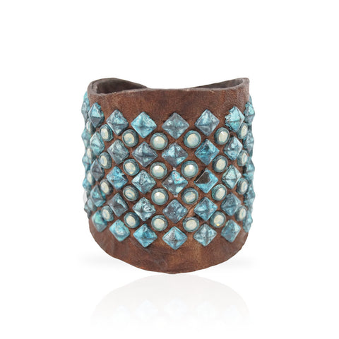 Adel Cuff Swarovski Crystals/Turquoise Pyramid in Chocolate