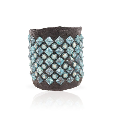 Adel Cuff Swarovski Crystals/Turquoise Pyramid in Black
