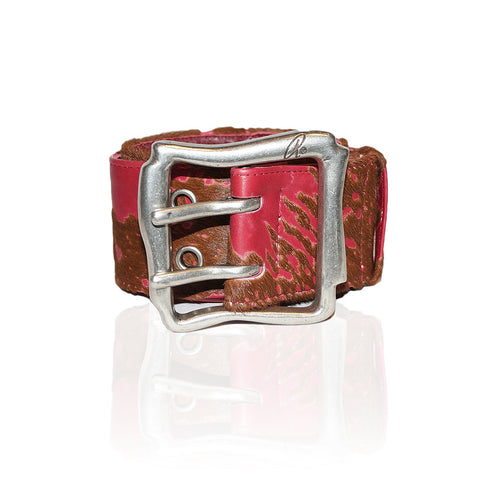 Alessandria Calf Hair Belt in Red Acid