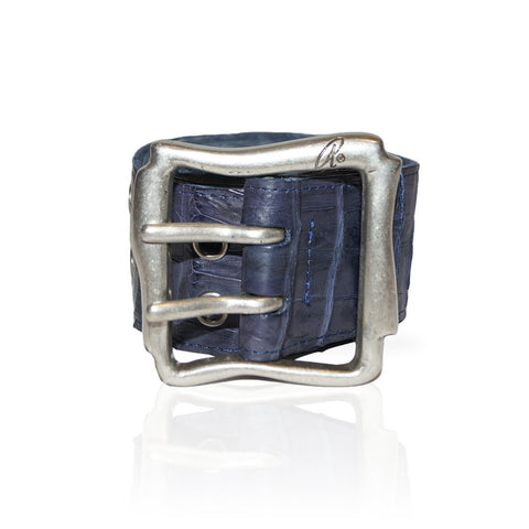 Alessandria Crocodile Belt in Blue