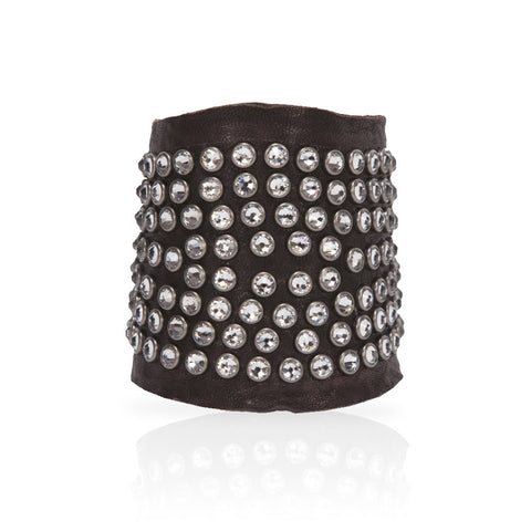 Adel Cuff Swarovski Crystals in Chocolate/White