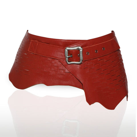 Imola Laser Cut Leather Belt in Red