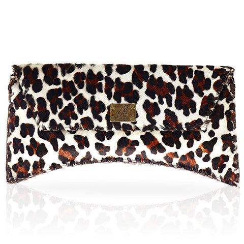 Bella Calf Hair Clutch in Large Leopard