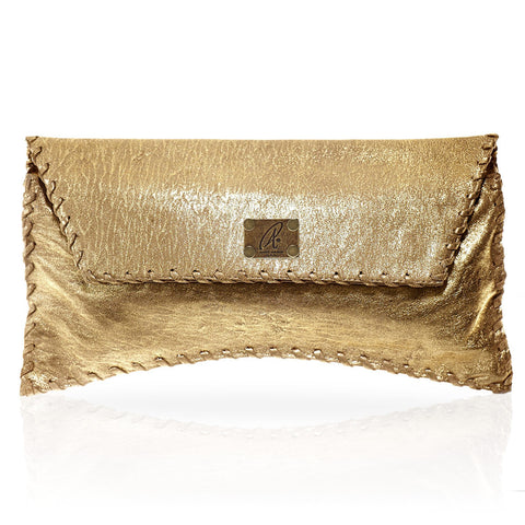 Bella Clutch in Distressed Gold