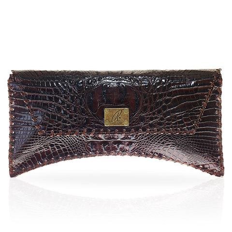 Bella Hornback Clutch in Chocolate