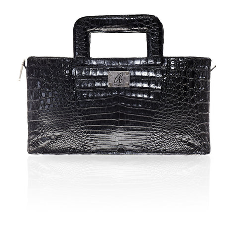 Milan Crocodile Clutch in Black