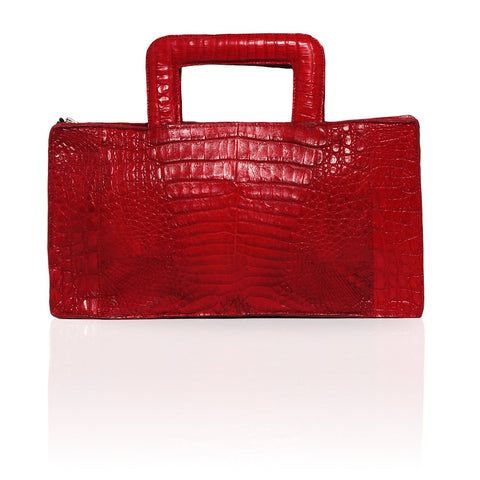 Milan Crocodile Clutch in Red