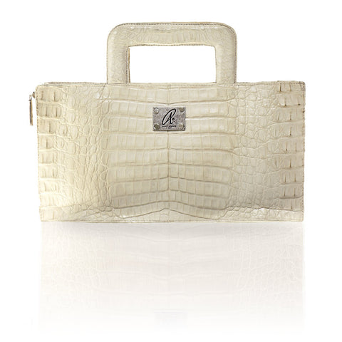 Milan Crocodile Clutch in Natural