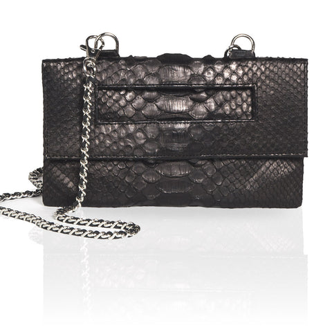 Capri Python 3-Way Pouch in Black