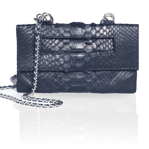Capri Python 3-Way Pouch in Navy