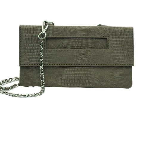 Capri 3-Way Embossed Python Pouch in Army Green