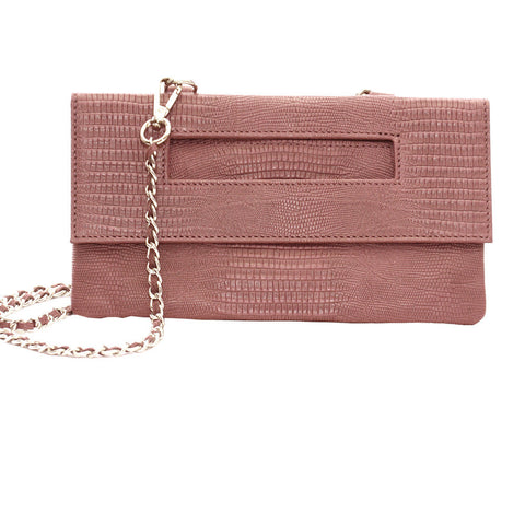 Capri 3-Way Embossed Python Pouch in Pink